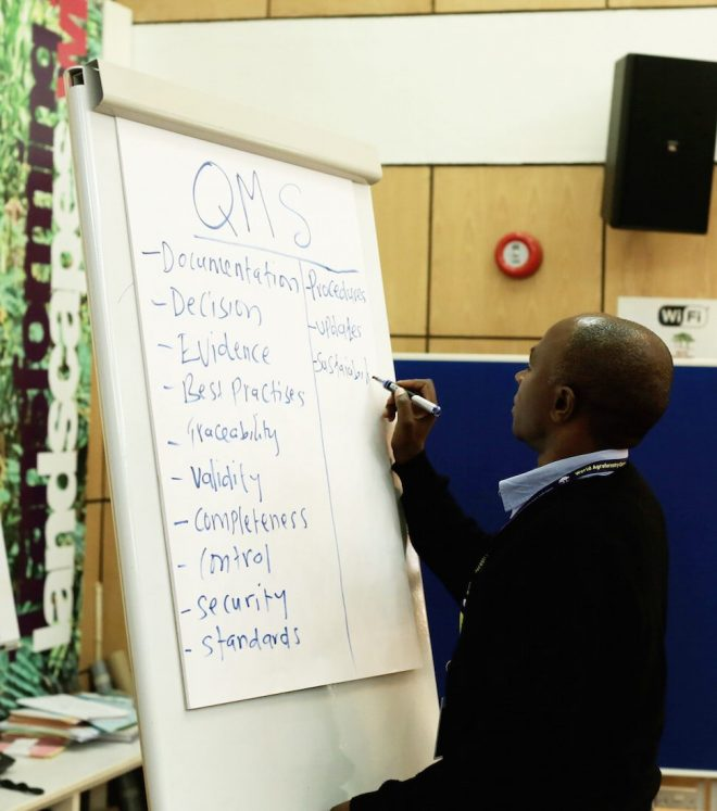 Participants brainstorm at the G.O.A.L. workshop in Nairobi, Kenya at ICRAF, Septmeber 2016.Credit: Shawn Landersz